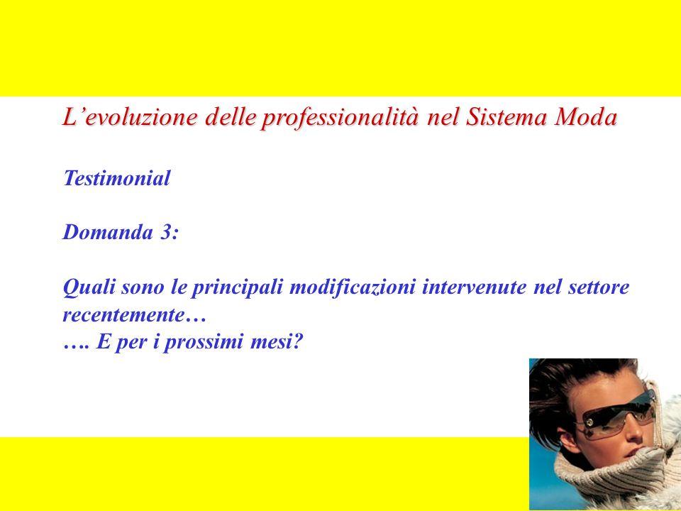 L'evoluzione delle professionalità nel Sistema Moda Testimonial Domanda 3: Quali sono le principali modificazioni intervenute nel settore recentemente… ….