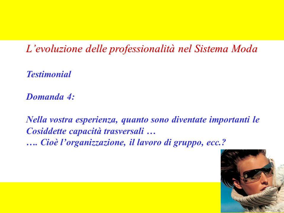 L'evoluzione delle professionalità nel Sistema Moda Testimonial Domanda 4: Nella vostra esperienza, quanto sono diventate importanti le Cosiddette capacità trasversali … ….
