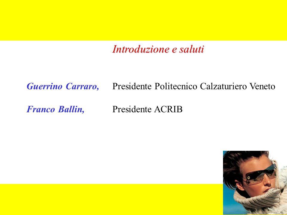 Introduzione e saluti Guerrino Carraro, Presidente Politecnico Calzaturiero Veneto Franco Ballin,Presidente ACRIB