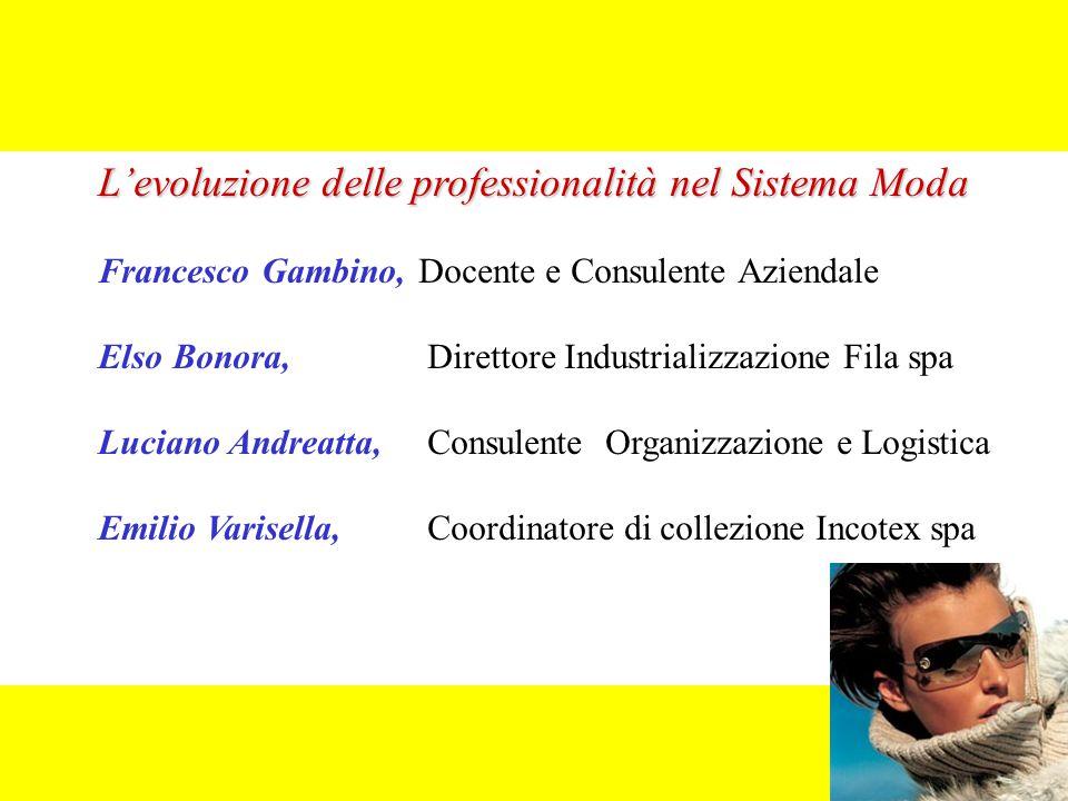 L'evoluzione delle professionalità nel Sistema Moda Francesco Gambino, Docente e Consulente Aziendale Elso Bonora, Direttore Industrializzazione Fila