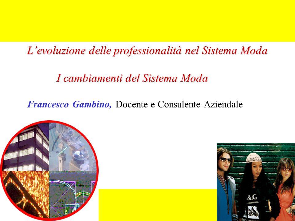 L'evoluzione delle professionalità nel Sistema Moda I cambiamenti del Sistema Moda Francesco Gambino, Docente e Consulente Aziendale