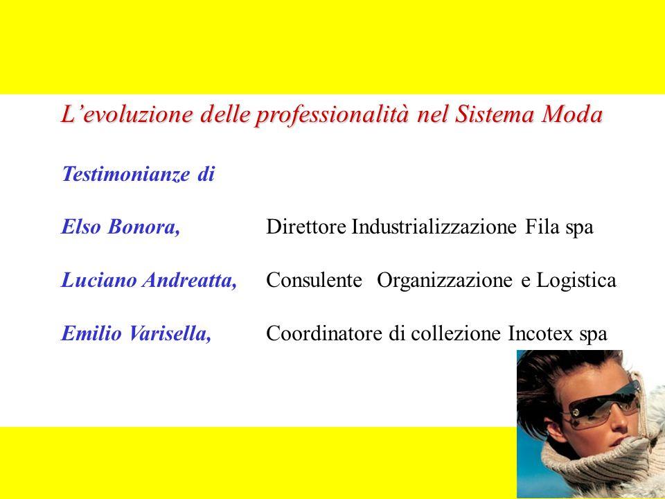 L'evoluzione delle professionalità nel Sistema Moda Testimonianze di Elso Bonora, Direttore Industrializzazione Fila spa Luciano Andreatta, Consulente
