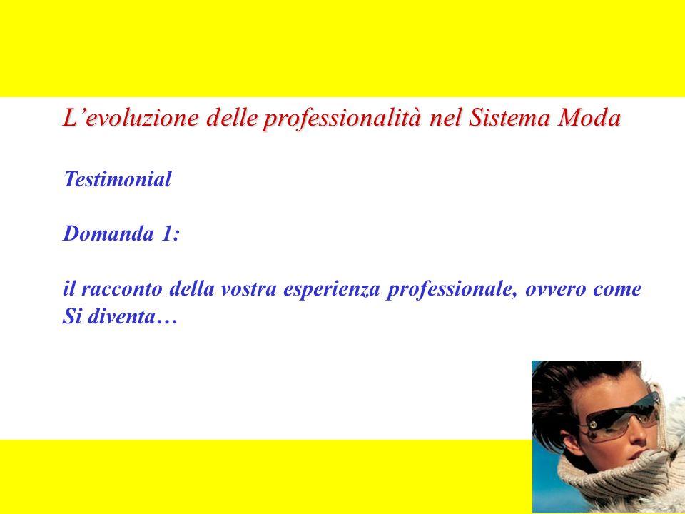 L'evoluzione delle professionalità nel Sistema Moda Testimonial Domanda 1: il racconto della vostra esperienza professionale, ovvero come Si diventa…