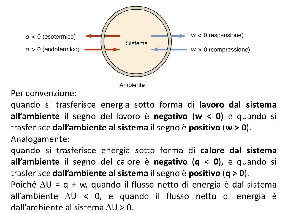 Per convenzione: quando si trasferisce energia sotto forma di lavoro dal sistema all'ambiente il segno del lavoro è negativo (w 0).