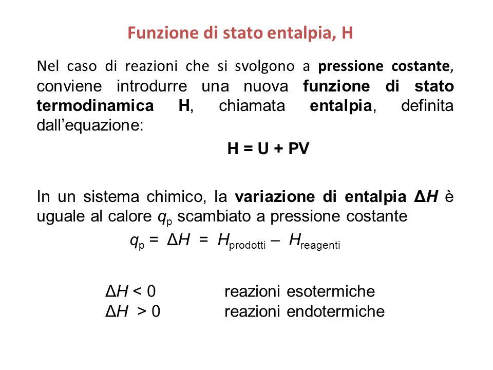 Nel caso di reazioni che si svolgono a pressione costante, conviene introdurre una nuova funzione di stato termodinamica H, chiamata entalpia, definita dall'equazione: H = U + PV In un sistema chimico, la variazione di entalpia ΔH è uguale al calore q p scambiato a pressione costante q p = ΔH = H prodotti – H reagenti Funzione di stato entalpia, H ΔH < 0 reazioni esotermiche ΔH > 0 reazioni endotermiche
