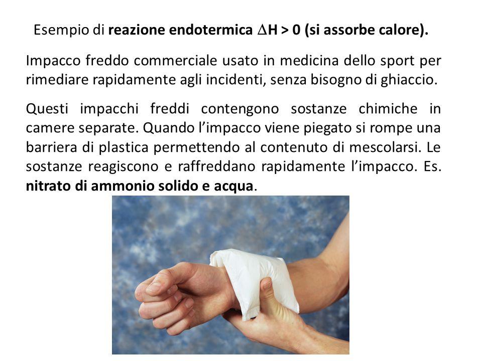 Esempio di reazione endotermica  H > 0 (si assorbe calore). Impacco freddo commerciale usato in medicina dello sport per rimediare rapidamente agli i