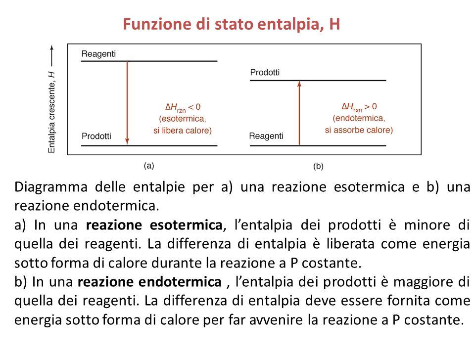 Funzione di stato entalpia, H Diagramma delle entalpie per a) una reazione esotermica e b) una reazione endotermica. a) In una reazione esotermica, l'