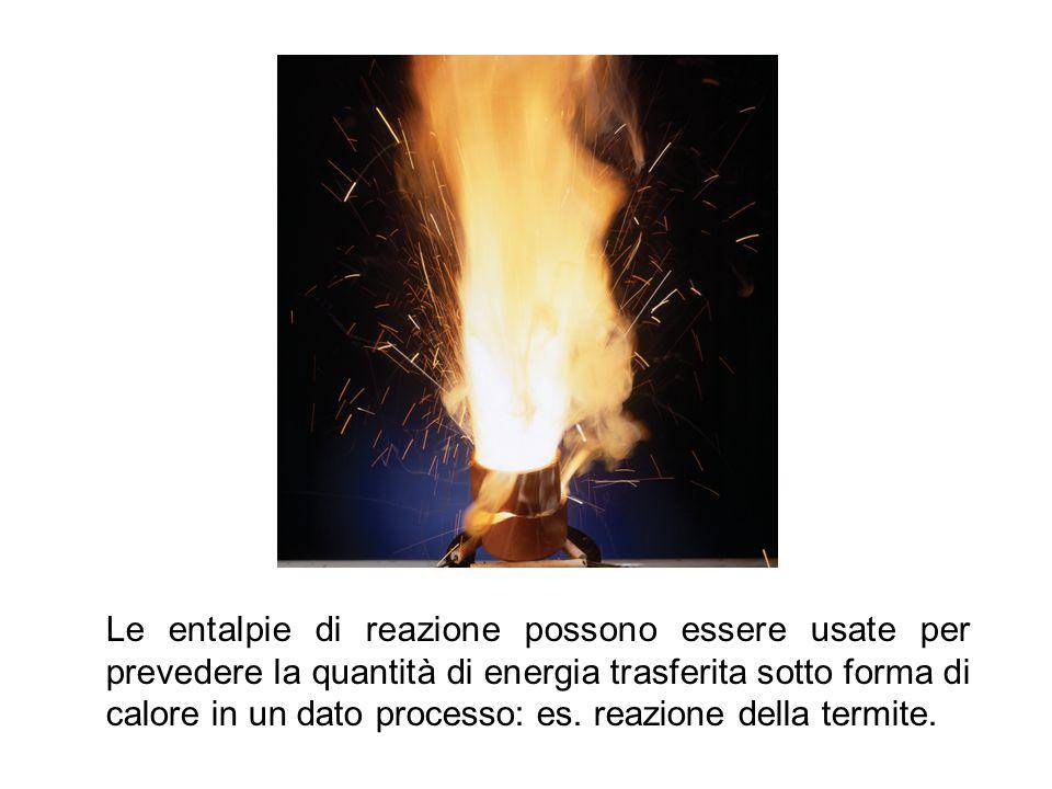 Le entalpie di reazione possono essere usate per prevedere la quantità di energia trasferita sotto forma di calore in un dato processo: es. reazione d