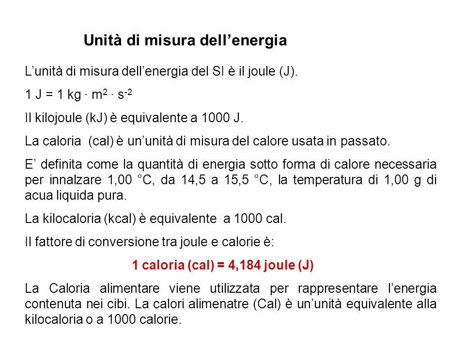 Unità di misura dell'energia L'unità di misura dell'energia del SI è il joule (J). 1 J = 1 kg · m 2 · s -2 Il kilojoule (kJ) è equivalente a 1000 J. L