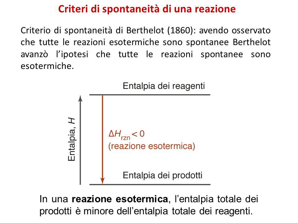 Criteri di spontaneità di una reazione In una reazione esotermica, l'entalpia totale dei prodotti è minore dell'entalpia totale dei reagenti.