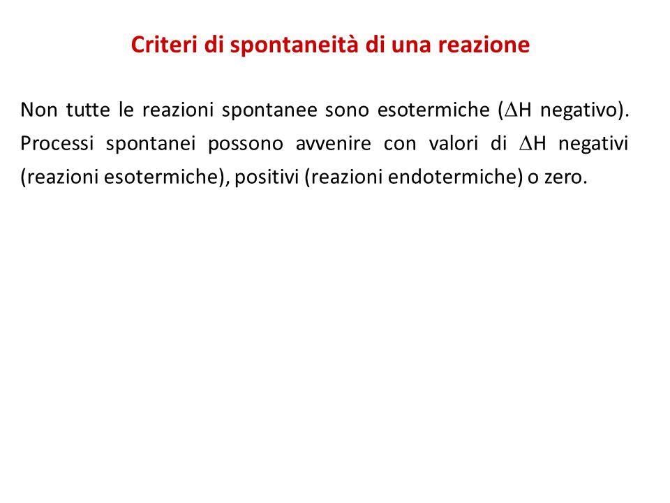 Criteri di spontaneità di una reazione Non tutte le reazioni spontanee sono esotermiche (  H negativo).