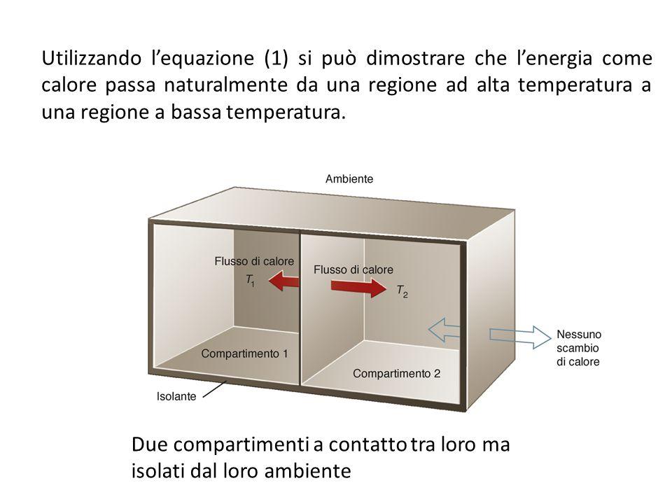 Due compartimenti a contatto tra loro ma isolati dal loro ambiente Utilizzando l'equazione (1) si può dimostrare che l'energia come calore passa natur
