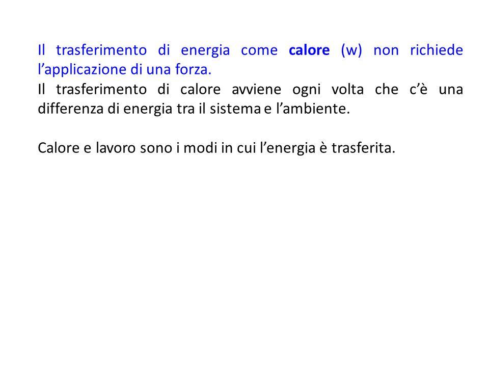 Il trasferimento di energia come calore (w) non richiede l'applicazione di una forza. Il trasferimento di calore avviene ogni volta che c'è una differ