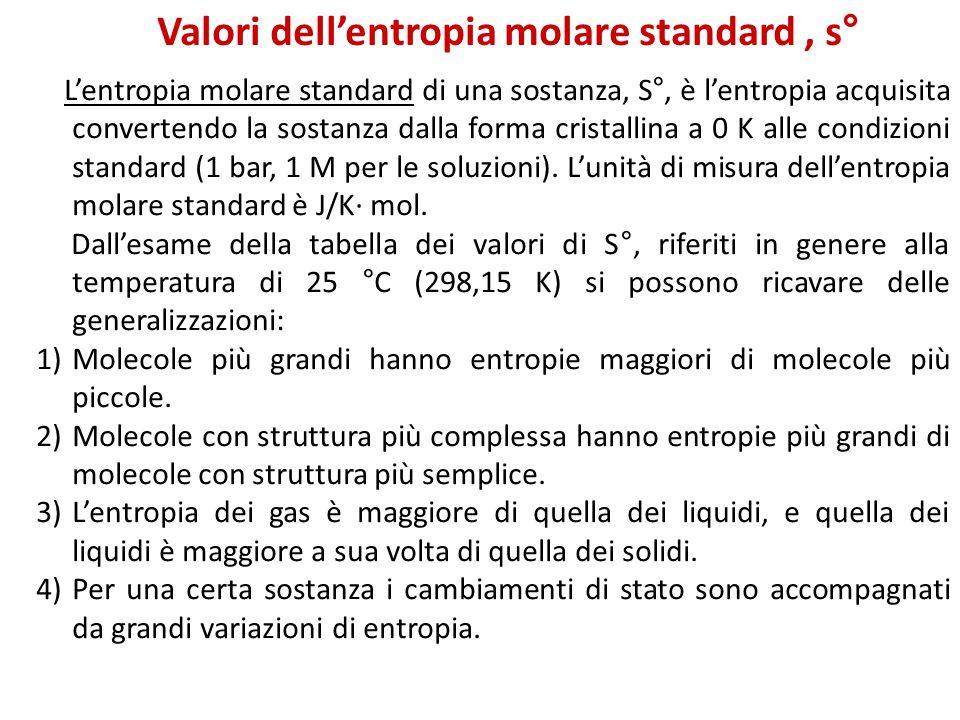 Valori dell'entropia molare standard, s° L'entropia molare standard di una sostanza, S°, è l'entropia acquisita convertendo la sostanza dalla forma cr