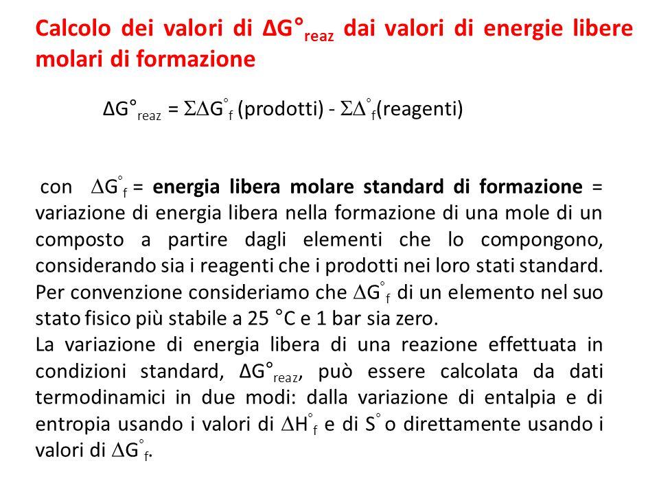 Calcolo dei valori di ΔG° reaz dai valori di energie libere molari di formazione ΔG° reaz =  G ° f (prodotti) -  ° f (reagenti) con  G ° f = energia libera molare standard di formazione = variazione di energia libera nella formazione di una mole di un composto a partire dagli elementi che lo compongono, considerando sia i reagenti che i prodotti nei loro stati standard.