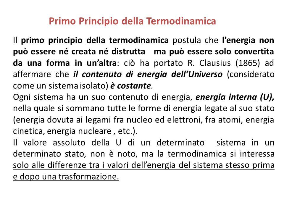 Il primo principio della termodinamica postula che l'energia non può essere né creata né distrutta ma può essere solo convertita da una forma in un'al