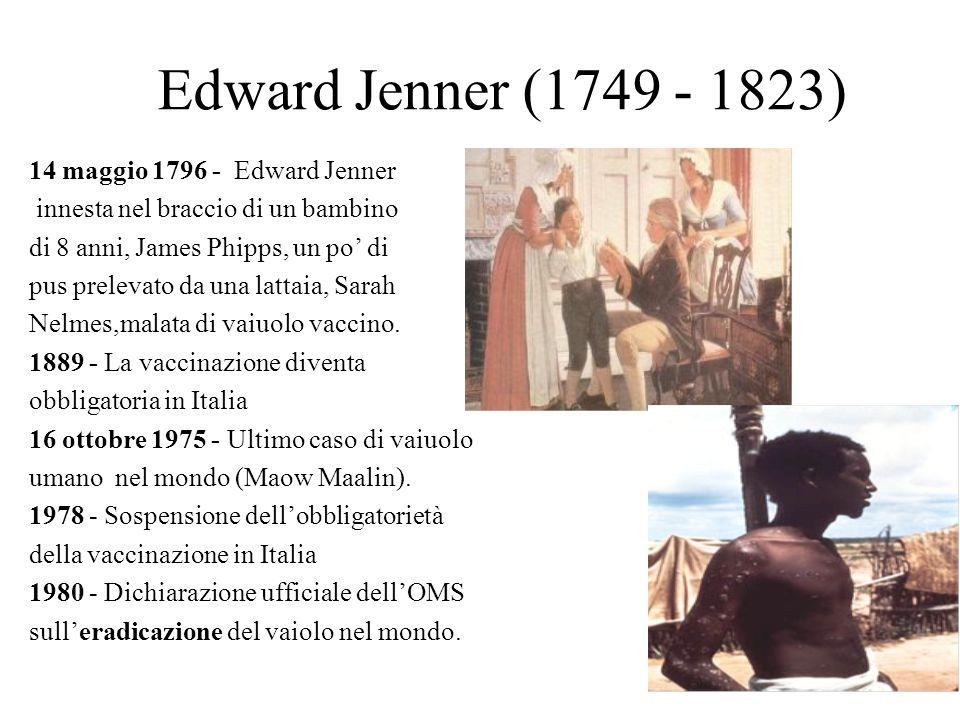 Edward Jenner (1749 - 1823) 14 maggio 1796 - Edward Jenner innesta nel braccio di un bambino di 8 anni, James Phipps, un po' di pus prelevato da una l