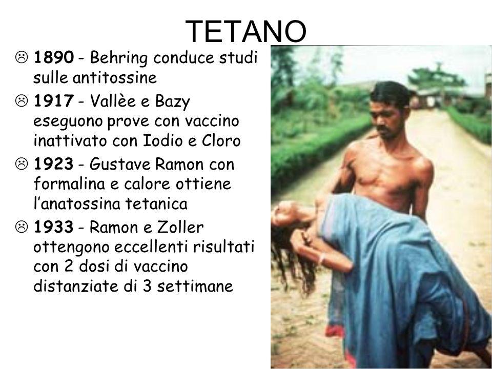 TETANO  1890 - Behring conduce studi sulle antitossine  1917 - Vallèe e Bazy eseguono prove con vaccino inattivato con Iodio e Cloro  1923 - Gustav