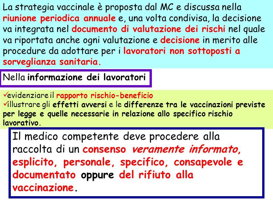 La strategia vaccinale è proposta dal MC e discussa nella riunione periodica annuale e, una volta condivisa, la decisione va integrata nel documento d