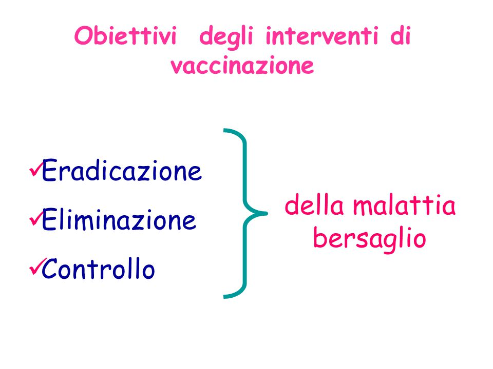 Obiettivi degli interventi di vaccinazione Eradicazione Eliminazione Controllo della malattia bersaglio