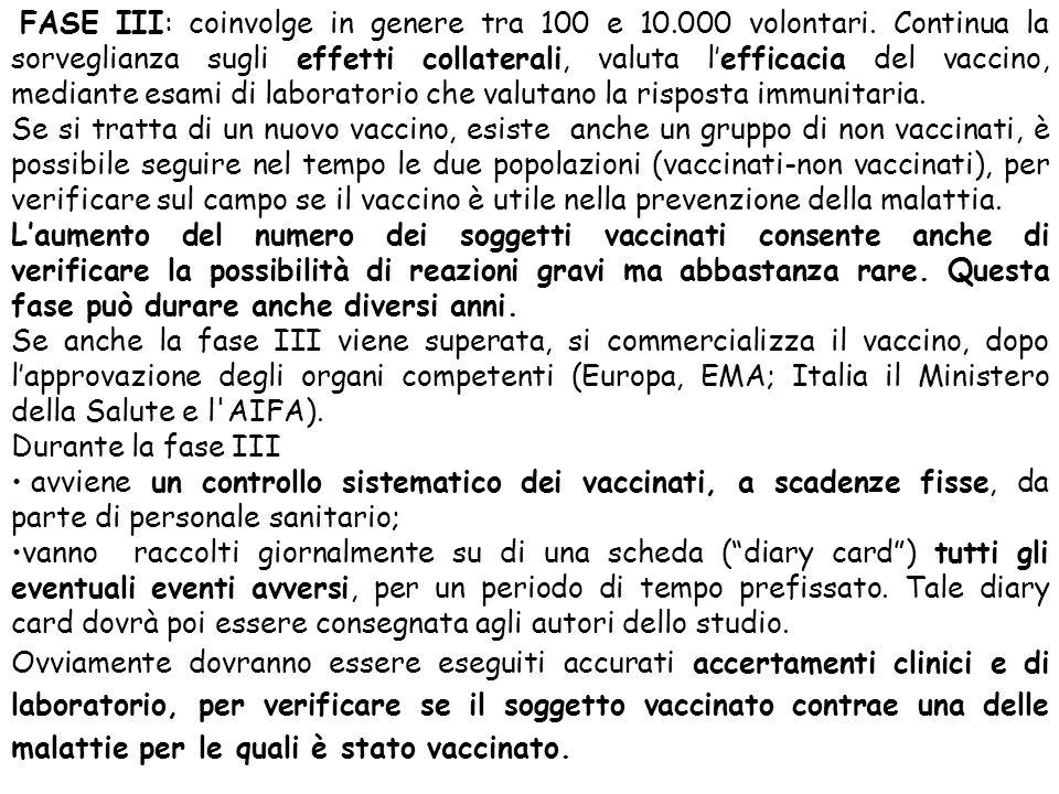 FASE III: coinvolge in genere tra 100 e 10.000 volontari. Continua la sorveglianza sugli effetti collaterali, valuta l'efficacia del vaccino, mediante