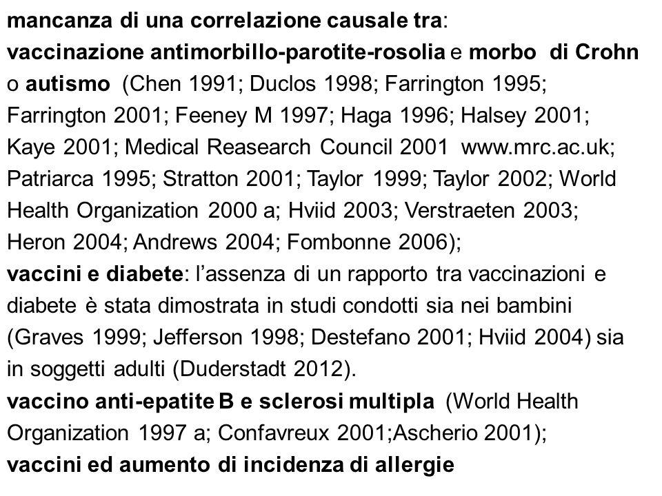 mancanza di una correlazione causale tra: vaccinazione antimorbillo-parotite-rosolia e morbo di Crohn o autismo (Chen 1991; Duclos 1998; Farrington 19