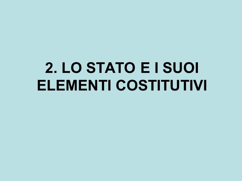 2. LO STATO E I SUOI ELEMENTI COSTITUTIVI