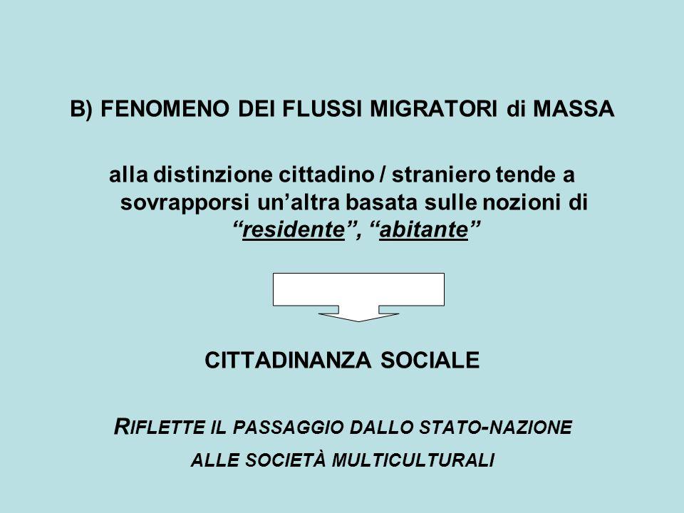 """B) FENOMENO DEI FLUSSI MIGRATORI di MASSA alla distinzione cittadino / straniero tende a sovrapporsi un'altra basata sulle nozioni di """"residente"""", """"ab"""