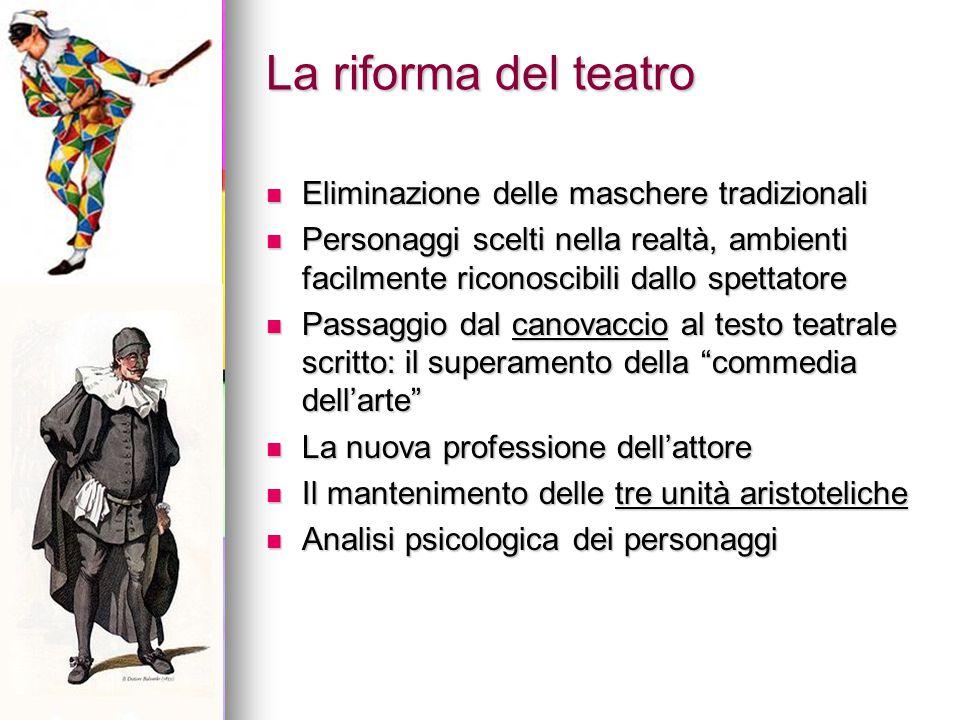 La riforma del teatro Eliminazione delle maschere tradizionali Eliminazione delle maschere tradizionali Personaggi scelti nella realtà, ambienti facil