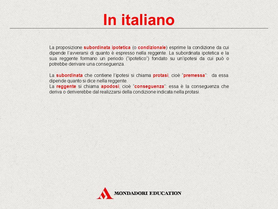 In italiano La proposizione subordinata ipotetica (o condizionale) esprime la condizione da cui dipende l'avverarsi di quanto è espresso nella reggente.