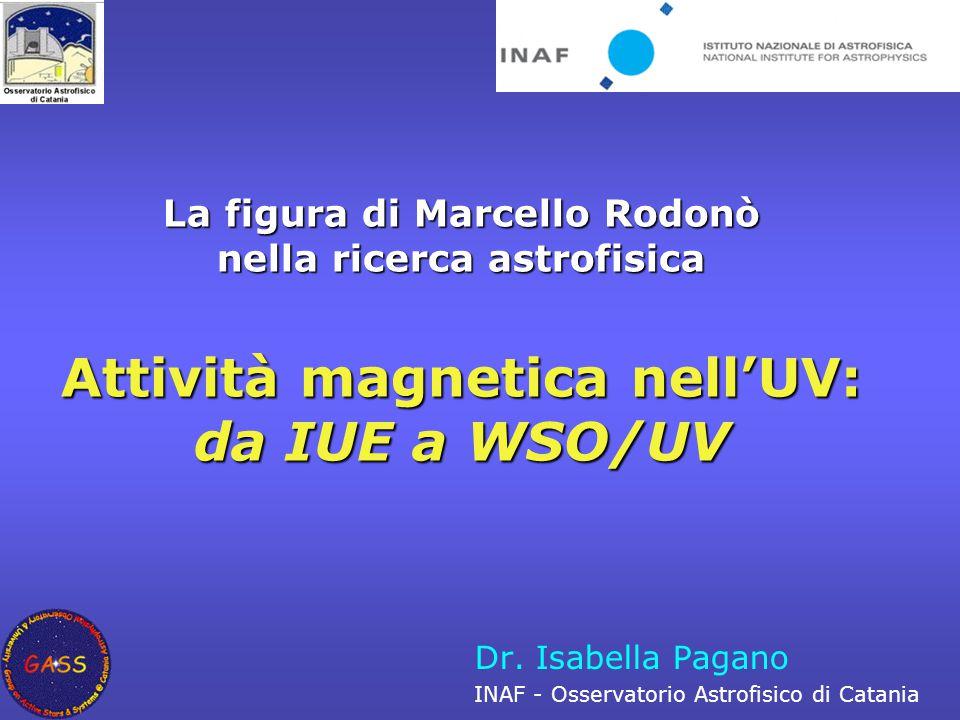 Catania, 24 Ottobre 2006La figura di Marcello Rodonò nella ricerca astrofisica Marcello Rodonò e lo studio dell'attività stellare nell'UV 1979: IUE Proposal ID #MR179, BY Dra Stars 1980: IUE Proposal ID #MR379, Solar-Type Stellar Activity in By Dra Flare 1980: IUE Proposal ID #MR381, Collaborative Monitoring of By Dra Type Flare Star  Rodonò, M., Romeo, G., & Strazzulla, G.