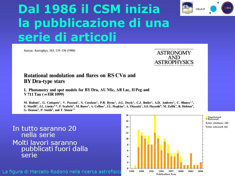 Catania, 24 Ottobre 2006La figura di Marcello Rodonò nella ricerca astrofisica Dal 1986 il CSM inizia la pubblicazione di una serie di articoli In tutto saranno 20 nella serie Molti lavori saranno pubblicati fuori dalla serie