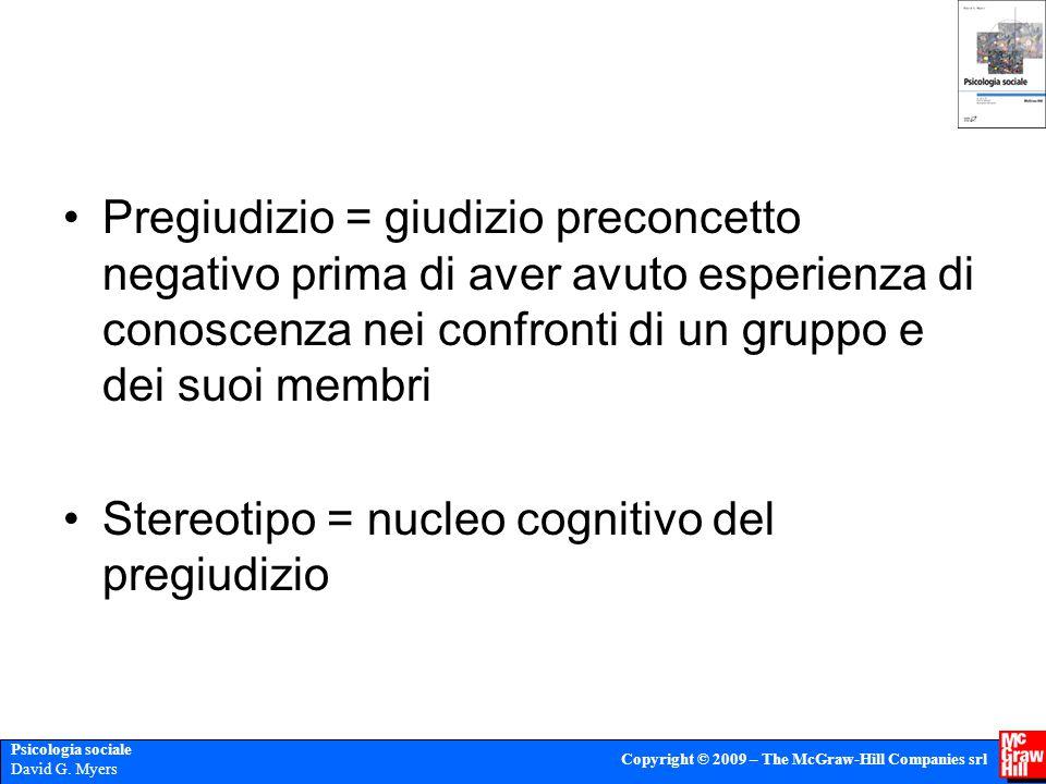 Psicologia sociale David G. Myers Copyright © 2009 – The McGraw-Hill Companies srl Pregiudizio = giudizio preconcetto negativo prima di aver avuto esp