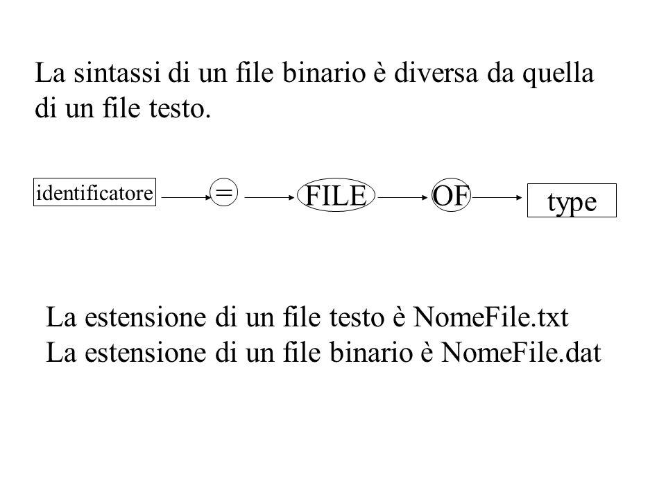 La estensione di un file testo è NomeFile.txt La estensione di un file binario è NomeFile.dat La sintassi di un file binario è diversa da quella di un file testo.