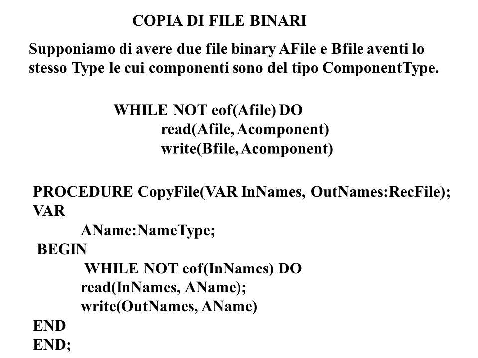 COPIA DI FILE BINARI Supponiamo di avere due file binary AFile e Bfile aventi lo stesso Type le cui componenti sono del tipo ComponentType.