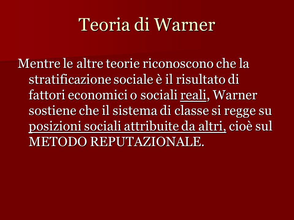 Teoria di Warner Mentre le altre teorie riconoscono che la stratificazione sociale è il risultato di fattori economici o sociali reali, Warner sostiene che il sistema di classe si regge su posizioni sociali attribuite da altri, cioè sul METODO REPUTAZIONALE.