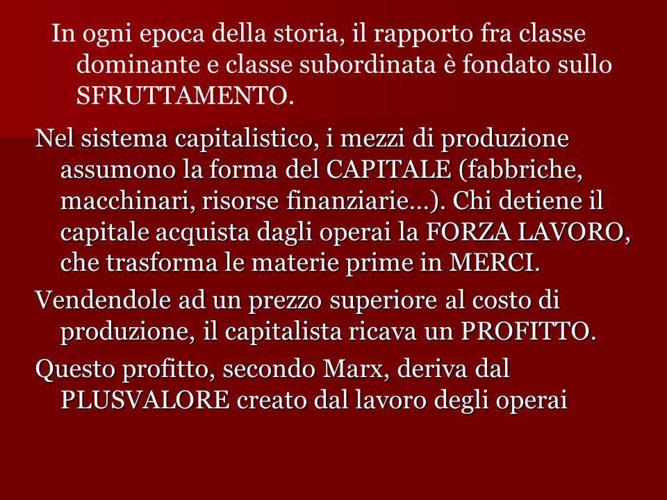 Nel sistema capitalistico, i mezzi di produzione assumono la forma del CAPITALE (fabbriche, macchinari, risorse finanziarie…).