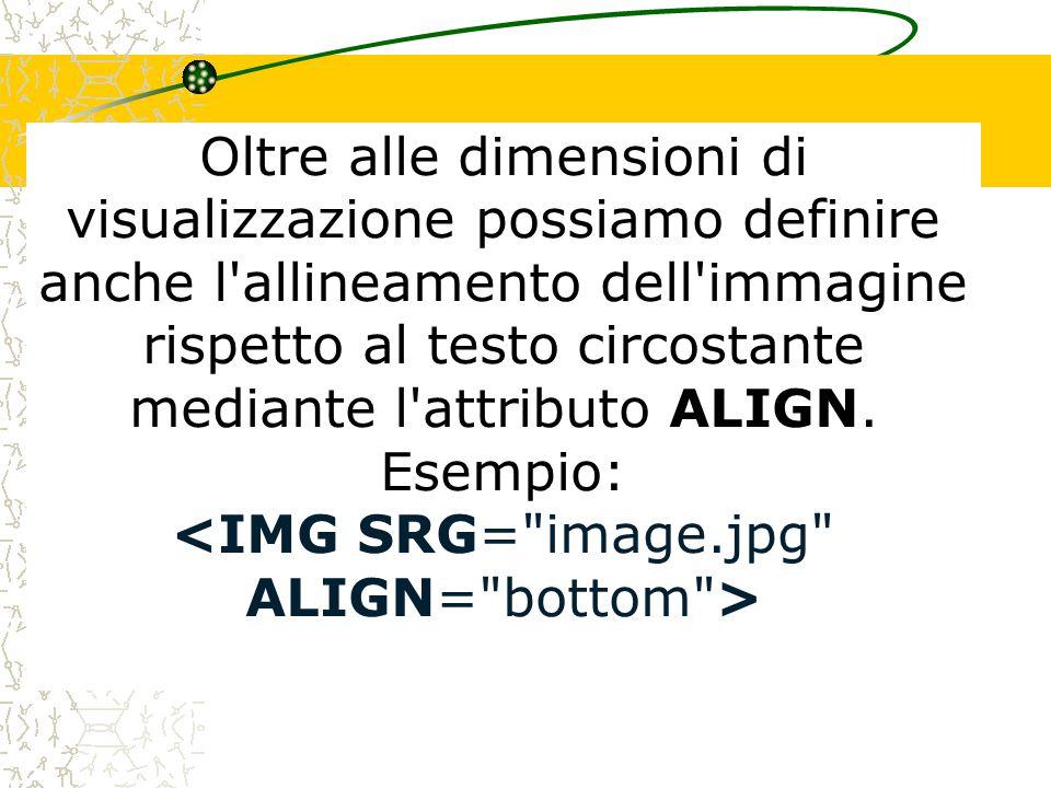 Quando si specificano le dimensioni di un immagine è necessario conoscerne le dimensioni effettive per mantenere inalterato il rapporto larghezza/altezza evitando così di deformare l immagine.