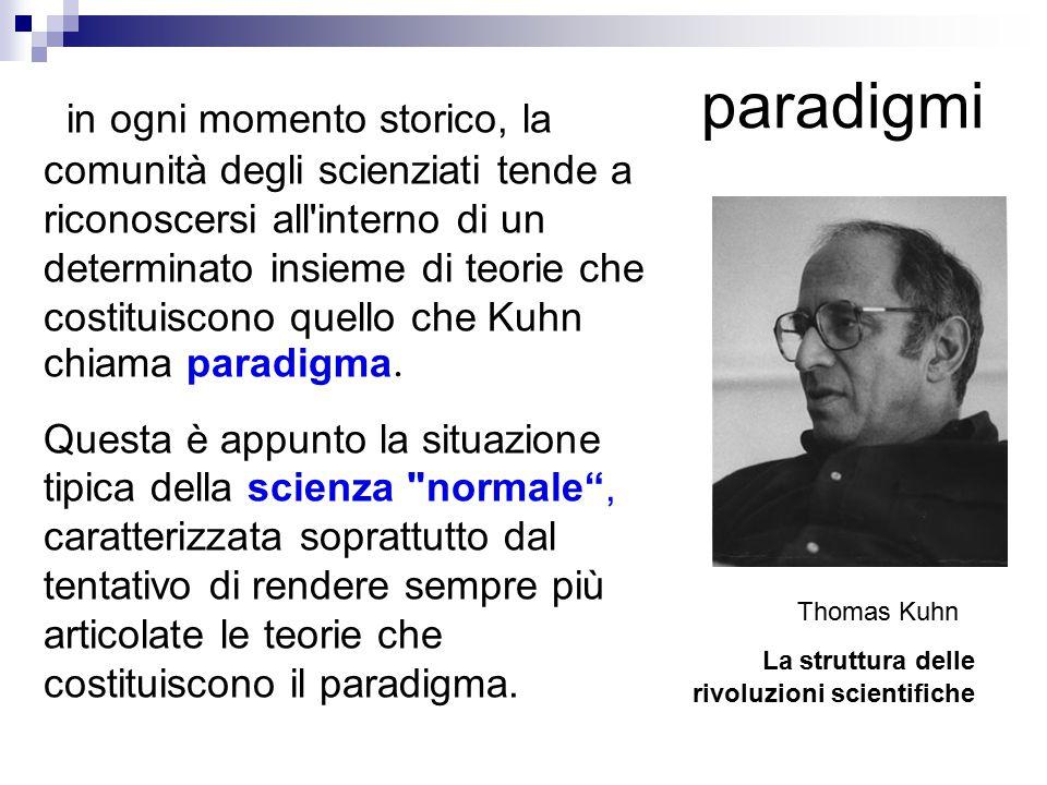 paradigmi La struttura delle rivoluzioni scientifiche in ogni momento storico, la comunità degli scienziati tende a riconoscersi all interno di un determinato insieme di teorie che costituiscono quello che Kuhn chiama paradigma.