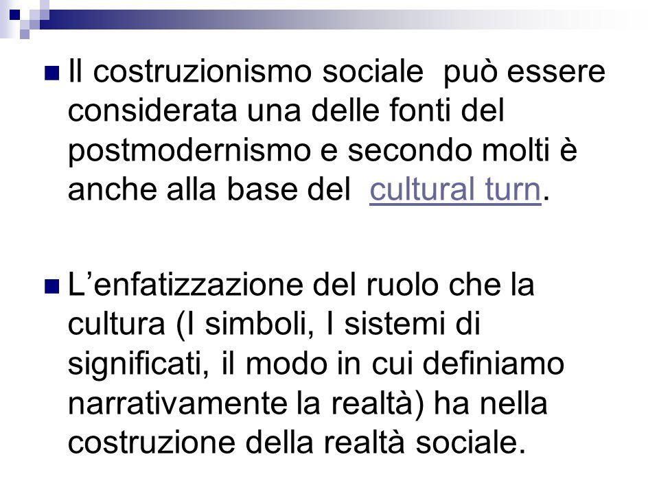 Il costruzionismo sociale può essere considerata una delle fonti del postmodernismo e secondo molti è anche alla base del cultural turn.cultural turn L'enfatizzazione del ruolo che la cultura (I simboli, I sistemi di significati, il modo in cui definiamo narrativamente la realtà) ha nella costruzione della realtà sociale.