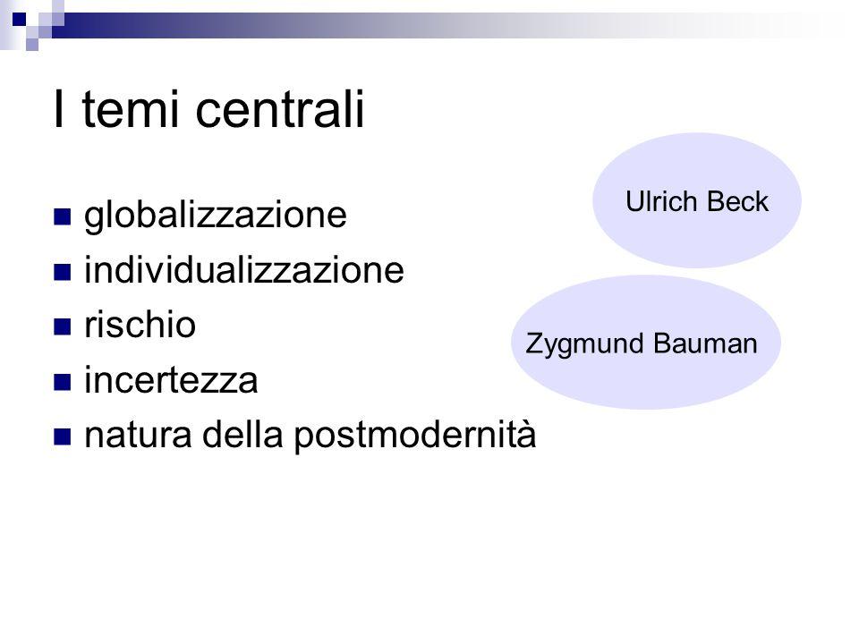 I temi centrali globalizzazione individualizzazione rischio incertezza natura della postmodernità Ulrich Beck Zygmund Bauman
