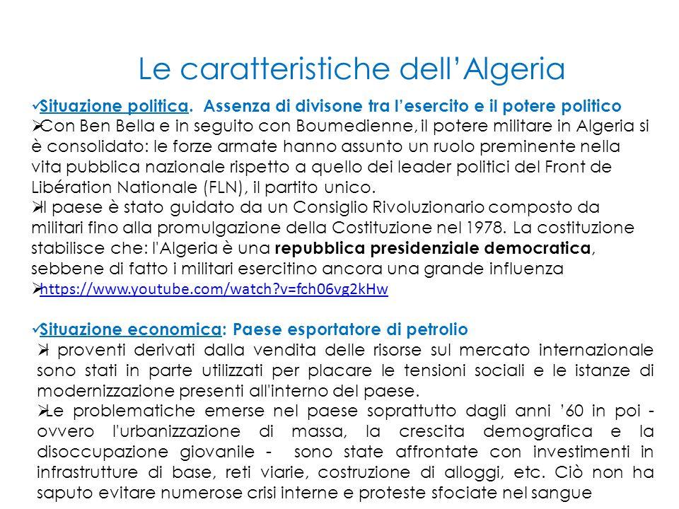 Situazione politica. Assenza di divisone tra l'esercito e il potere politico  Con Ben Bella e in seguito con Boumedienne, il potere militare in Alger