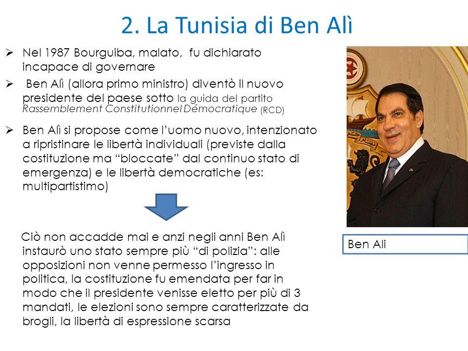 2. La Tunisia di Ben Alì  Nel 1987 Bourguiba, malato, fu dichiarato incapace di governare  Ben Alì (allora primo ministro) diventò il nuovo presiden