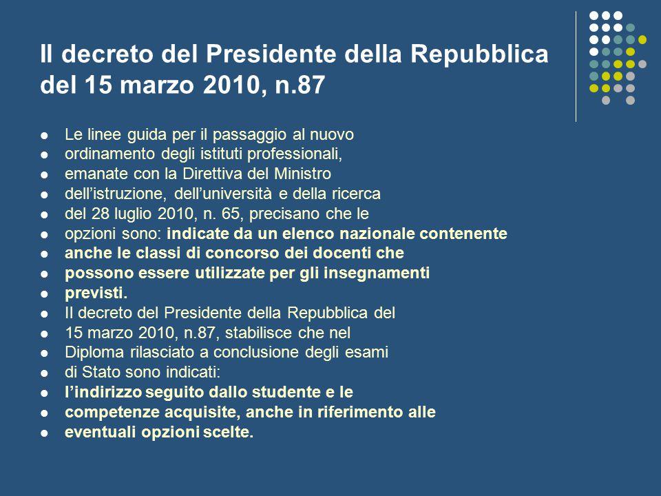 Il decreto del Presidente della Repubblica del 15 marzo 2010, n.87 Le linee guida per il passaggio al nuovo ordinamento degli istituti professionali,