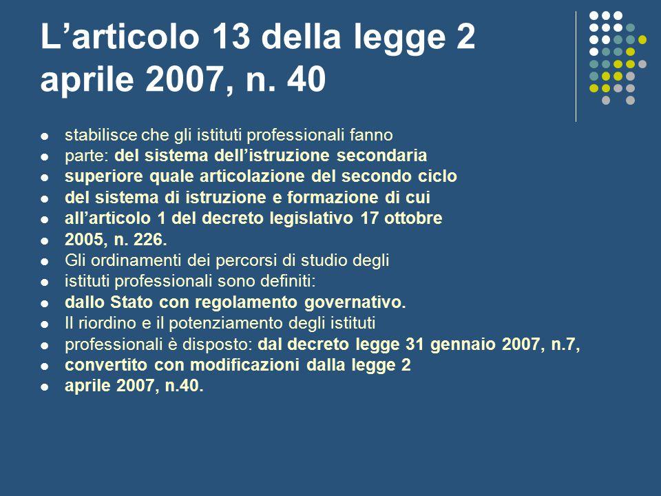 L'articolo 13 della legge 2 aprile 2007, n. 40 stabilisce che gli istituti professionali fanno parte: del sistema dell'istruzione secondaria superiore