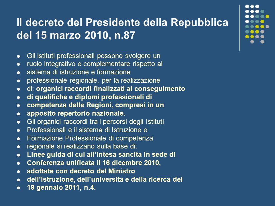 Il decreto del Presidente della Repubblica del 15 marzo 2010, n.87 Gli istituti professionali possono svolgere un ruolo integrativo e complementare ri
