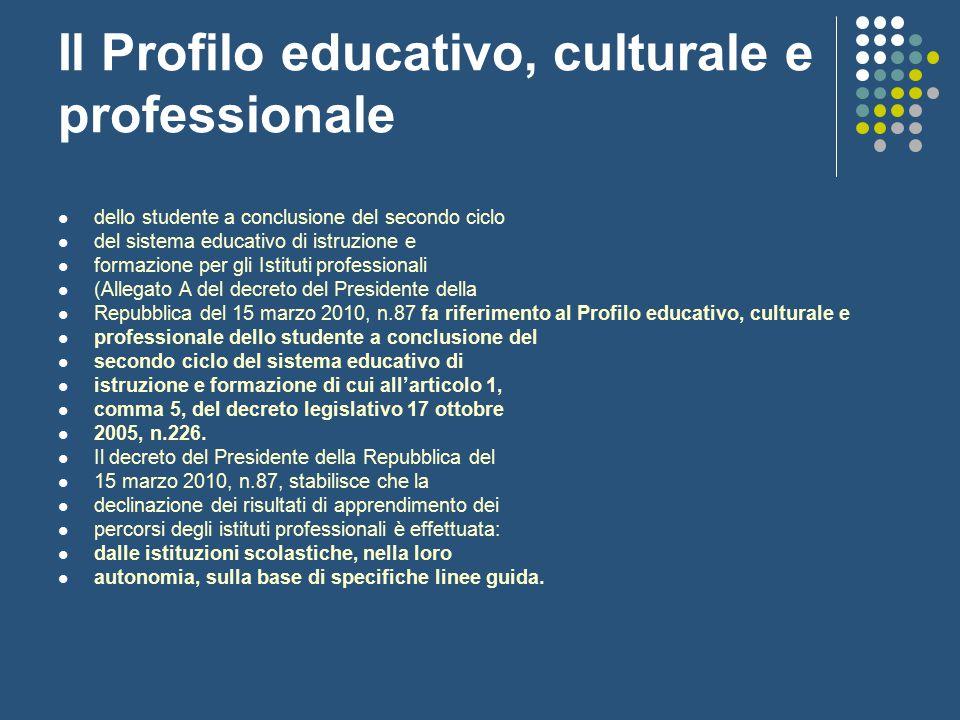 Il Profilo educativo, culturale e professionale dello studente a conclusione del secondo ciclo del sistema educativo di istruzione e formazione per gl