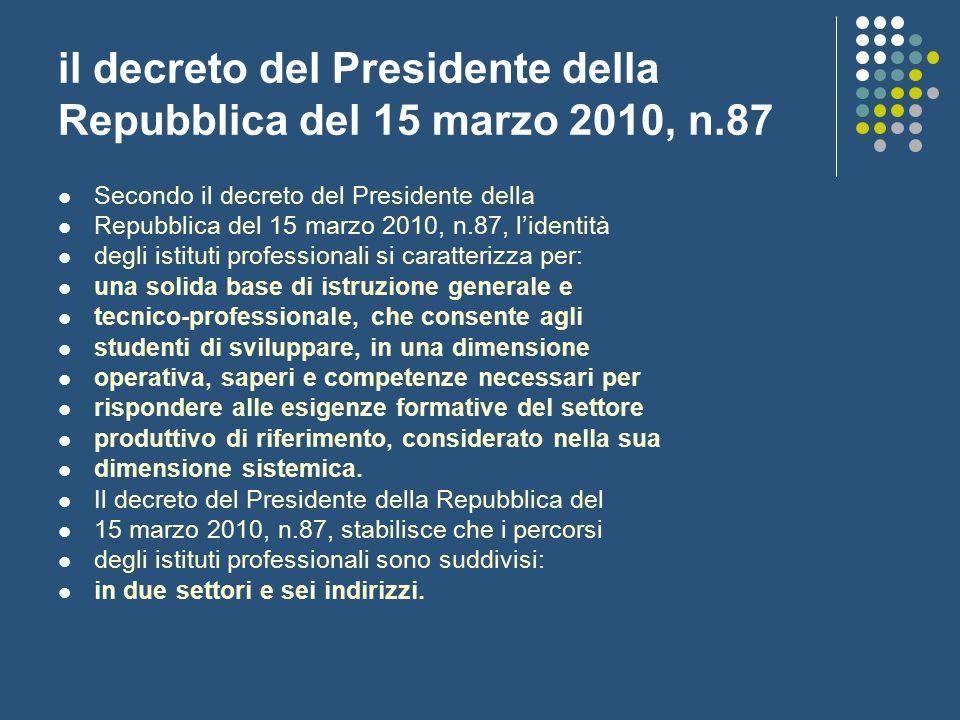 il decreto del Presidente della Repubblica del 15 marzo 2010, n.87 Secondo il decreto del Presidente della Repubblica del 15 marzo 2010, n.87, l'ident