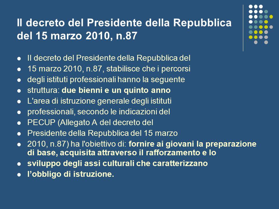 Il decreto del Presidente della Repubblica del 15 marzo 2010, n.87 Il decreto del Presidente della Repubblica del 15 marzo 2010, n.87, stabilisce che