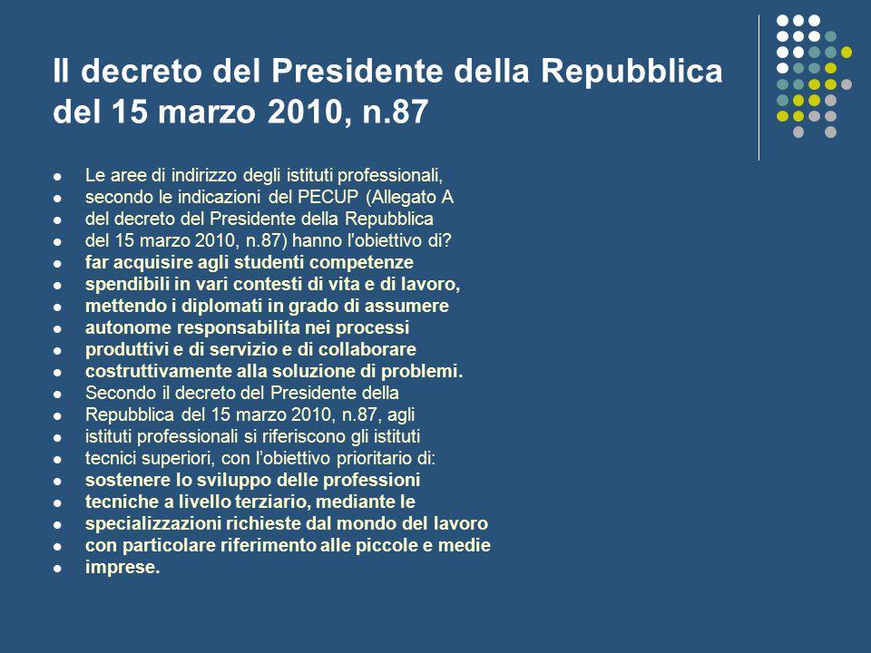 Il decreto del Presidente della Repubblica del 15 marzo 2010, n.87 Le aree di indirizzo degli istituti professionali, secondo le indicazioni del PECUP